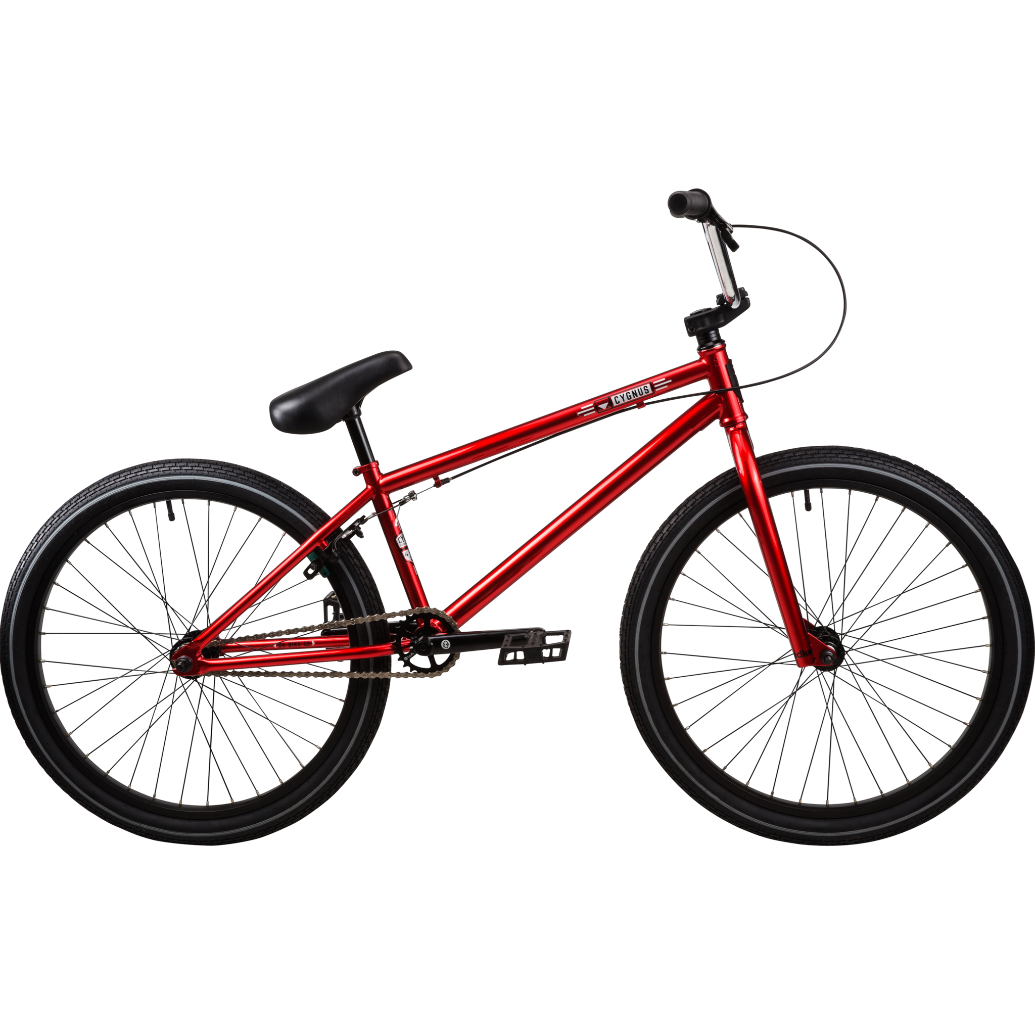 "DK Cygnus 24"" Complete Bmx Bike Polished Red Bakerized"
