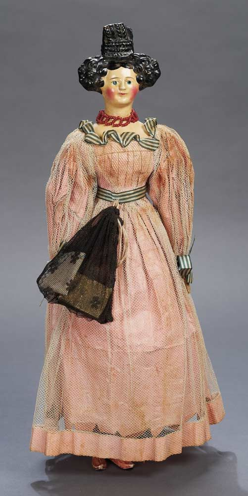 """15"""" (38 cm) Paper-Mache Lady Doll with Beehive Coiffure, Germany, circa 1840…"""