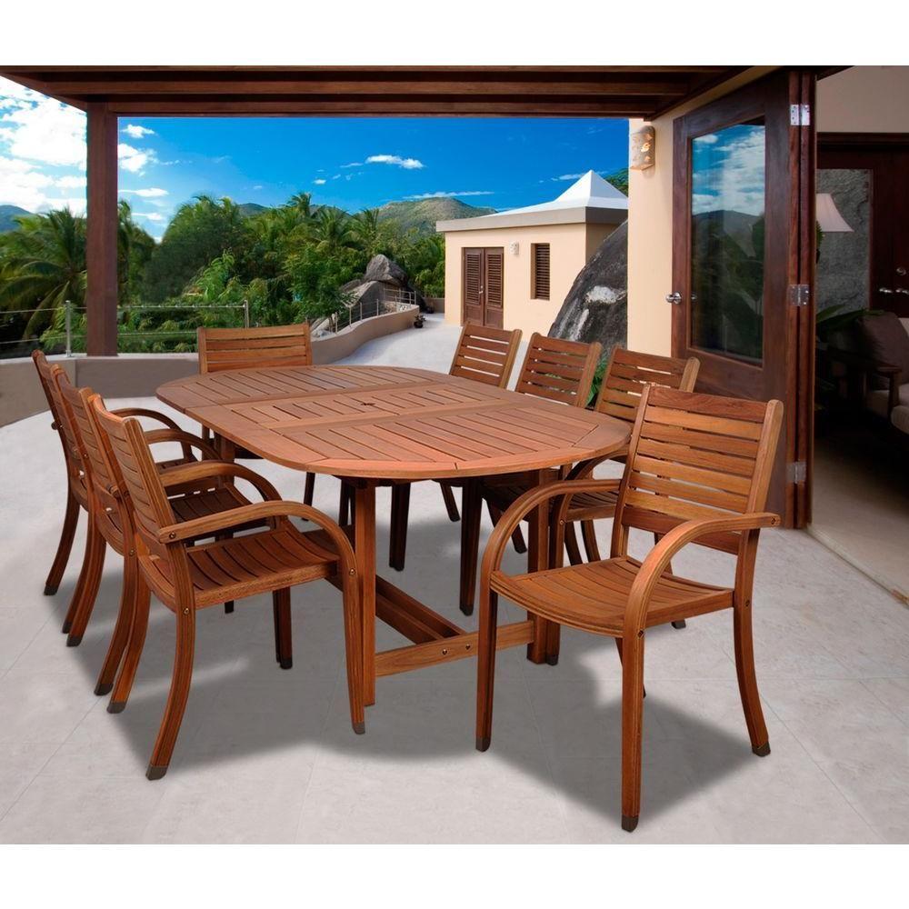 Amazonia Arizona Oval 9 Piece Eucalyptus Patio Dining Set Sc 359 8cata The Home Depot Patio Dining Set Wood Patio Furniture Outdoor Dining Chairs