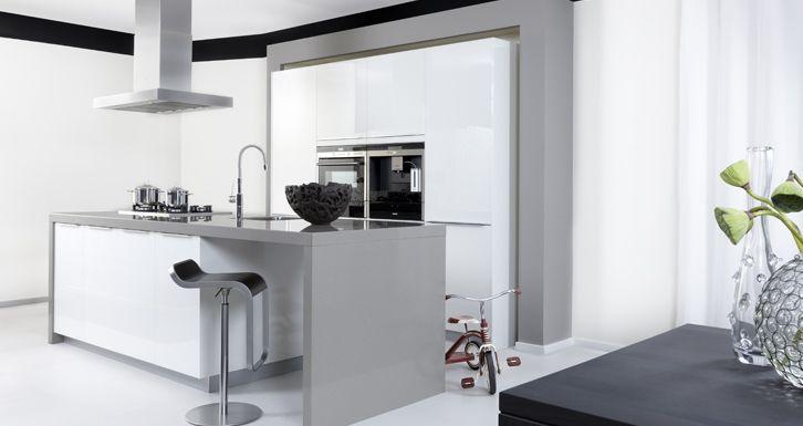 Kookeiland Wit Hoogglans : Keukens greeploos wit hoogglans