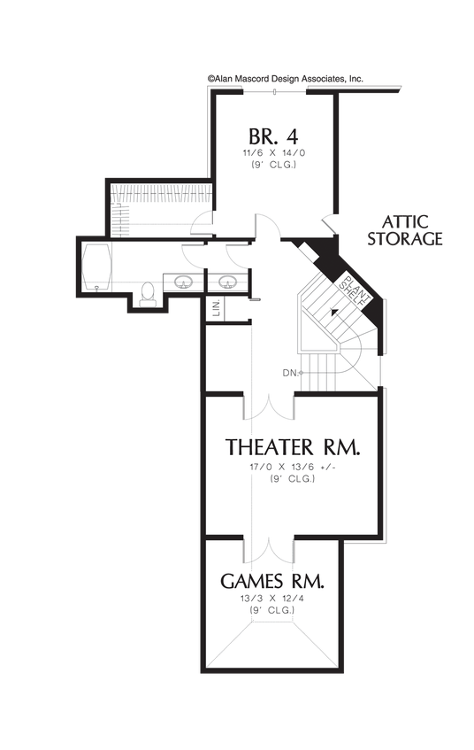 Upper Floor Plan of Mascord Plan 2420 - The Gatelyn - Universal Design on One and a Half Floors