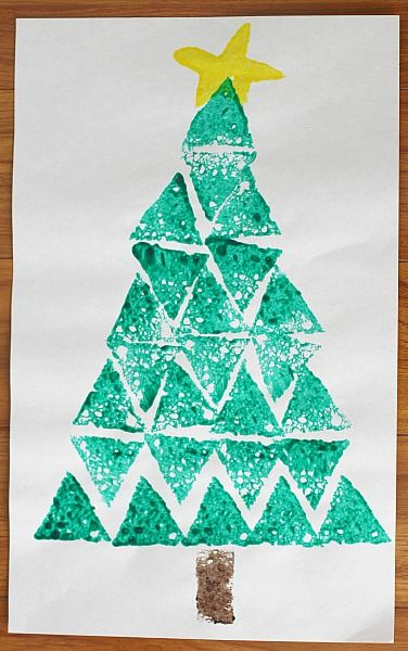 Christmas Crafts For Kids Shape Tree Sponge Painting