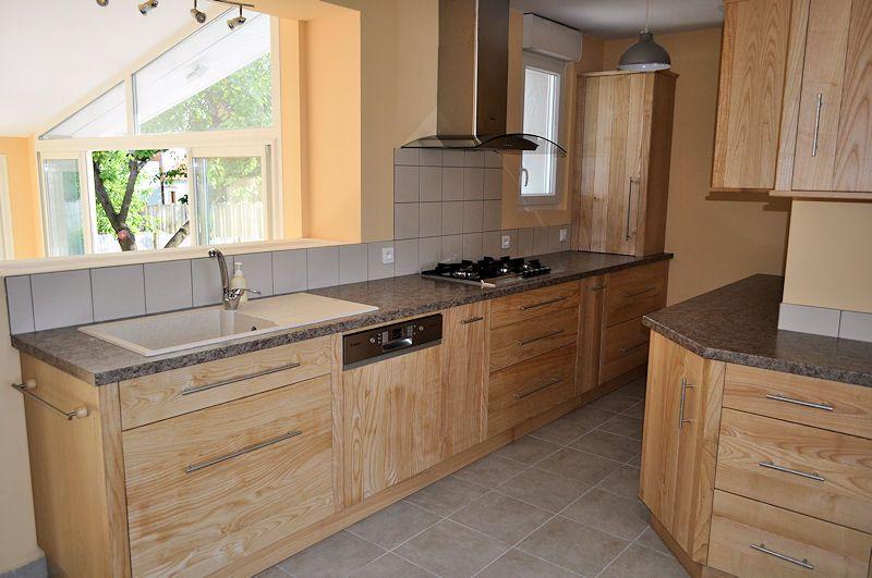 Cuisine fr ne massif mobilier de salon frene et meuble bois - Caisson cuisine bois massif ...
