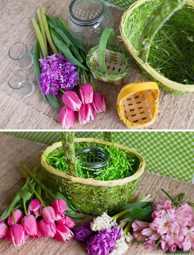 osterdeko selber machen fr hlingsblumen korb tulpen hyazinthen kunstgras osterdeko pinterest. Black Bedroom Furniture Sets. Home Design Ideas
