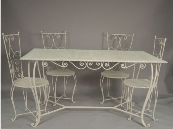 Encheres Salon De Jardin 1900 En Fer Forge Laque Blanc Comprenant Une Table N 145 Du 25 Avril 2015 A Toul Meuble Metal Decoration Maison Mobilier De Salon