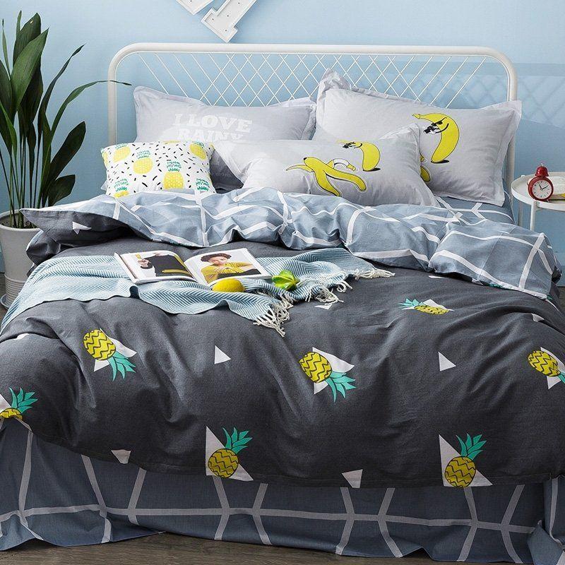 Grey Yellow And Aqua Pineapple Print Vintage Shabby Chic Unique 100 Organic Cotton Twin Full Size Bedding Beds Bed Linen Sets Bedding Sets Bed Linen Design