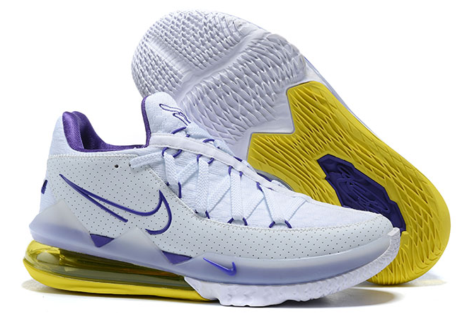 """2020 Nike LeBron 17 Low """"Lakers Home"""" White/Voltage Purple ..."""
