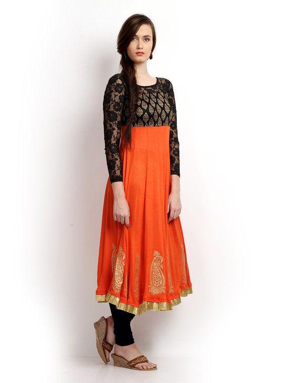 Women Orange & Black Printed Anarkali Kurta Size Chart ...