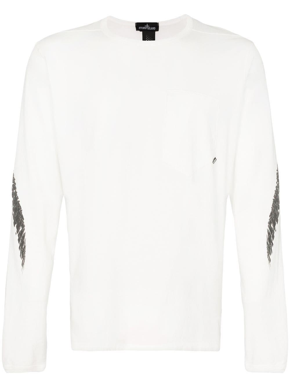2e7da213593f Stone Island Shadow Project Printed 'Cxado' long sleeved cotton T-shirt -  White