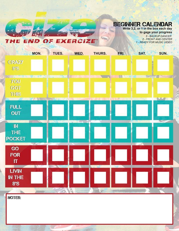 Cize beginner calendar cize workout cize cize workout