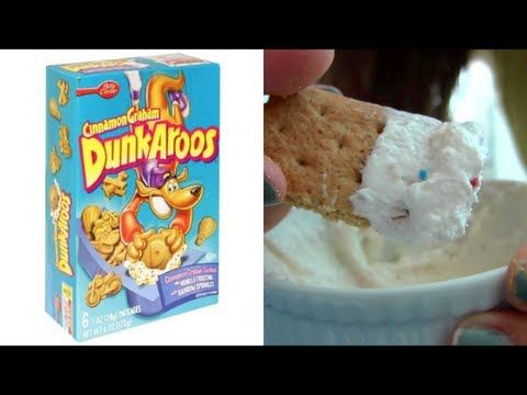 DIY Dunkaroos - 3 parts confetti cake mix, 2 parts plain yogurt, 1 part cool whip & mix. Dip graham crackers in mixture and enjoy!