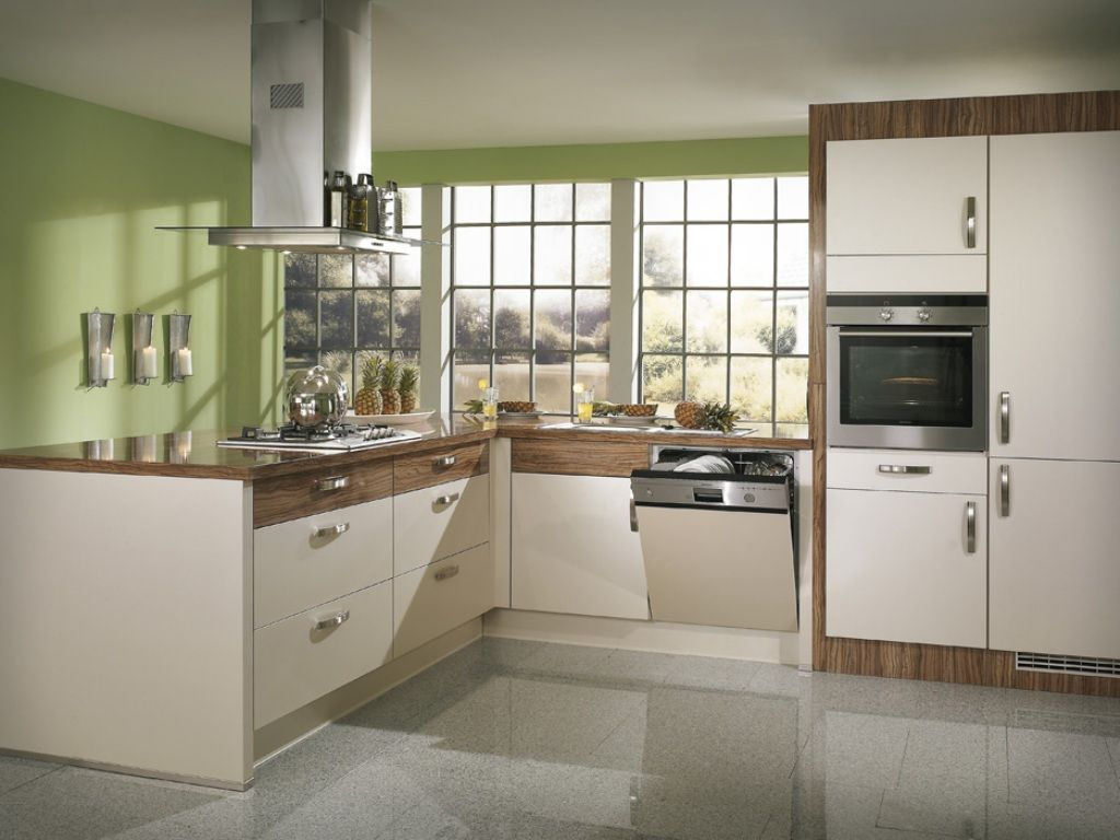 Example of a trendy kitchen design - Modern Kitchen Design Examples Green And Wood Pattern Of Modern Kitchen Design