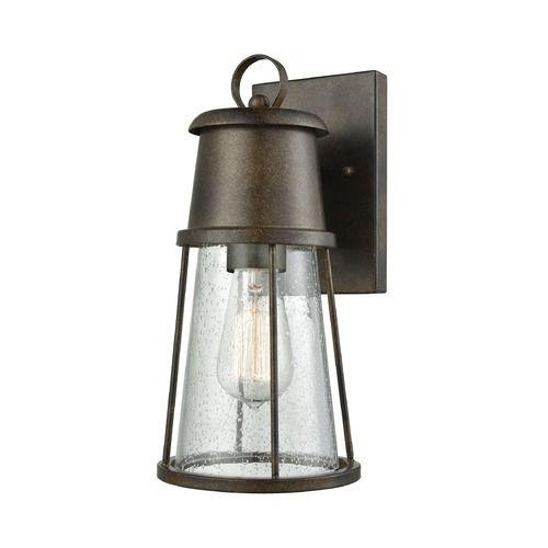 Seeded glass outdoor wall light bronze elk lighting at destination lighting