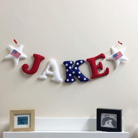American Themed Letter Garland Baby Name Bunting Usa Theme Nursery Decor Wall