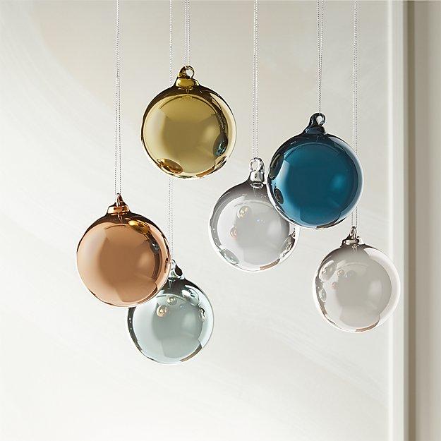 Metallic Pastel Ornaments Set Of 6 Cb2 Modern Christmas Ornaments Unique Christmas Ornaments Ornament Set