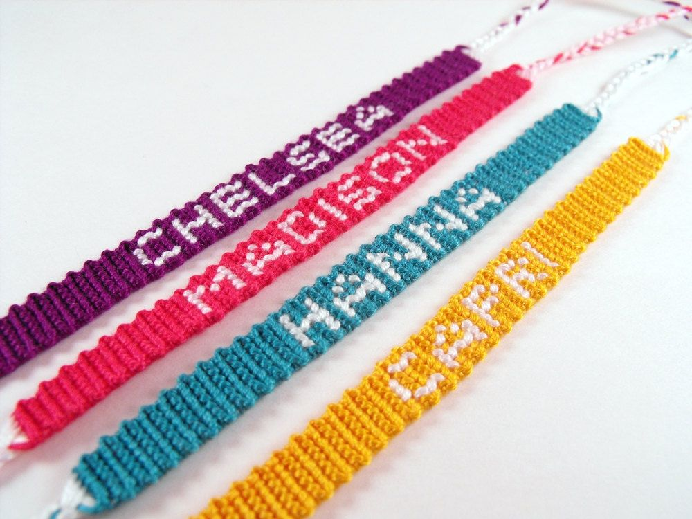 Custom Personalized Name Friendship bracelet, Skinny. $10.00, via Etsy.