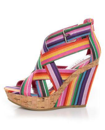 Rainbow Striped Wedge Sandals   Striped wedges, Wedge