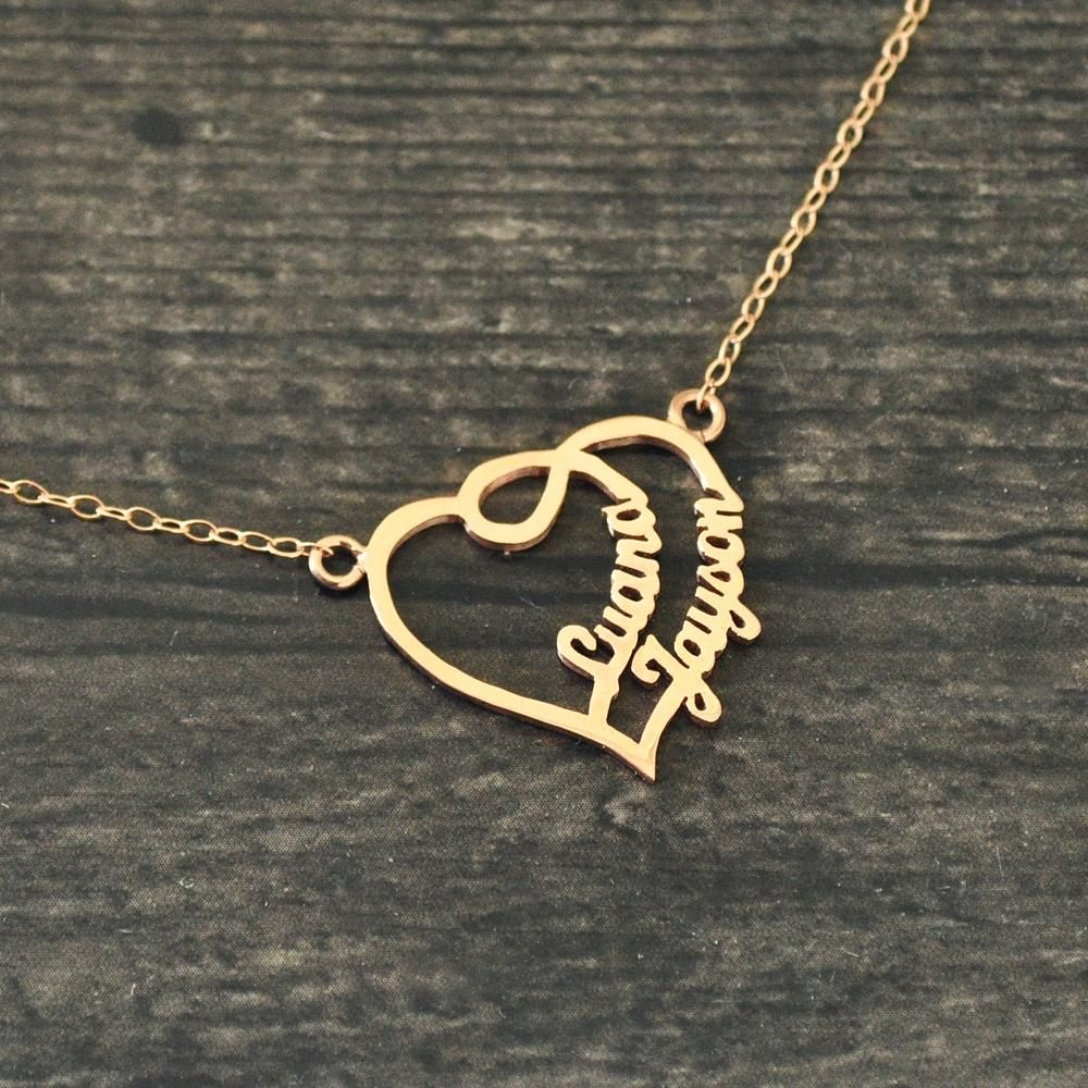 Personalized heart name necklace couples name necklace name heart