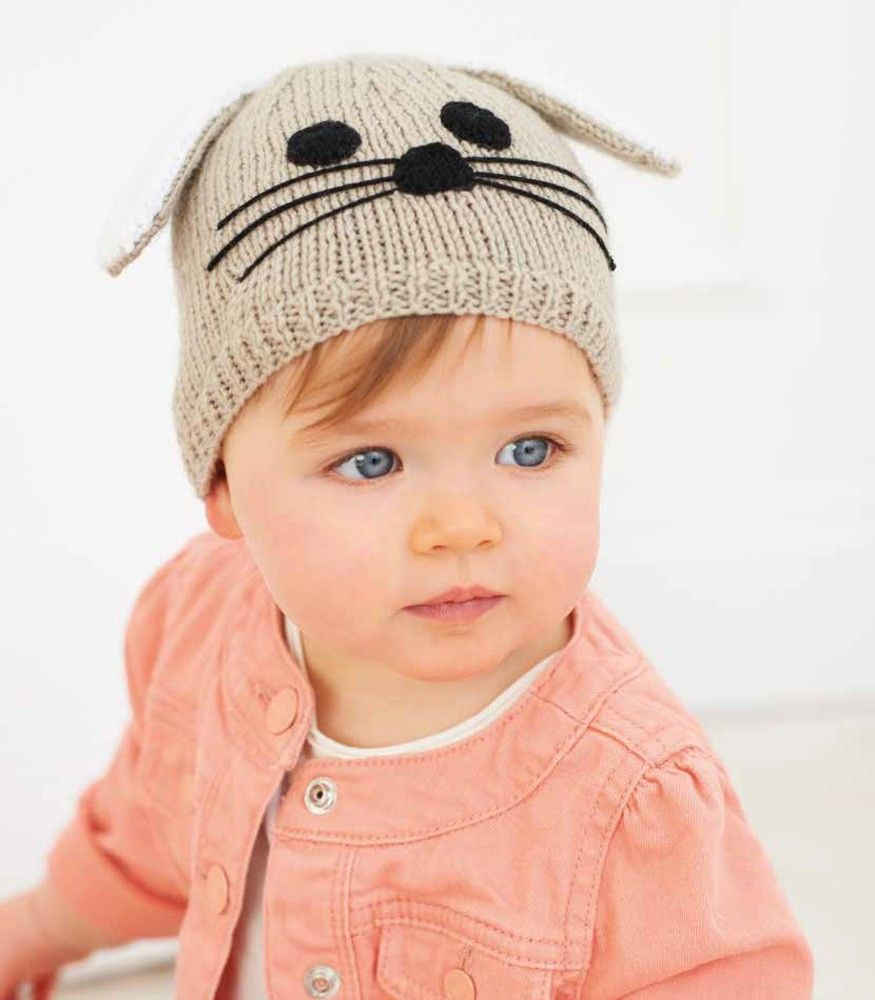 Free pattern for Bunny Hat in Rico Baby Classic DK - 201