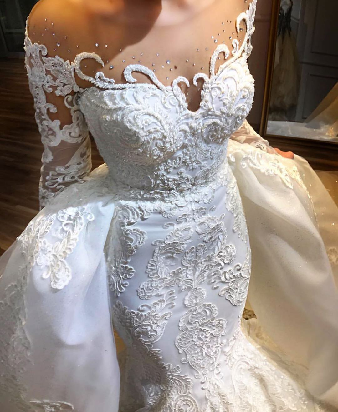 Long Sleeve Wedding Dresses Bridal Gowns With Sleeves Lace Mermaid Wedding Dress Long Sleeve Mermaid Wedding Dress Sparkle Wedding Dress [ 1319 x 1080 Pixel ]