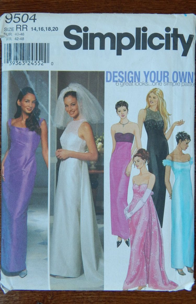 Evening Dress Detachable Train Sewing Pattern/Simplicity 9504 Design ...