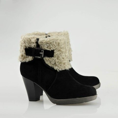 Faux Fur Cuff Lace-up Boots