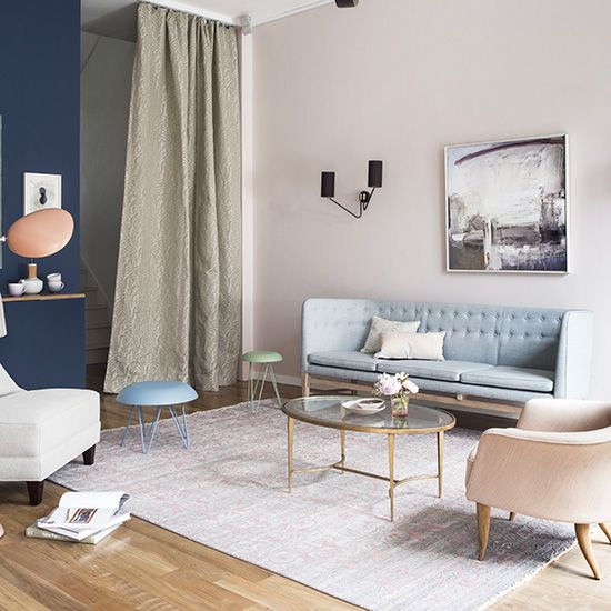 Oranges And Blues Off White Wall Carpet Paired With An Dark Blue Accent Pastel RoomPastel PinkBlue Living