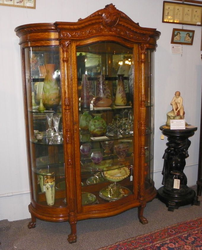 Antique Large Oak Curved Glass Curio China Cabinet - Antique Large Oak Curved Glass Curio China Cabinet China