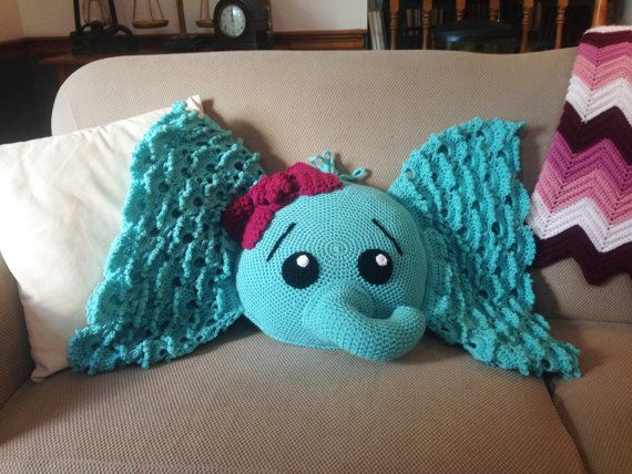 Crochet Elephant Pillow Crochet Decorative Throw Pillow In Aqua