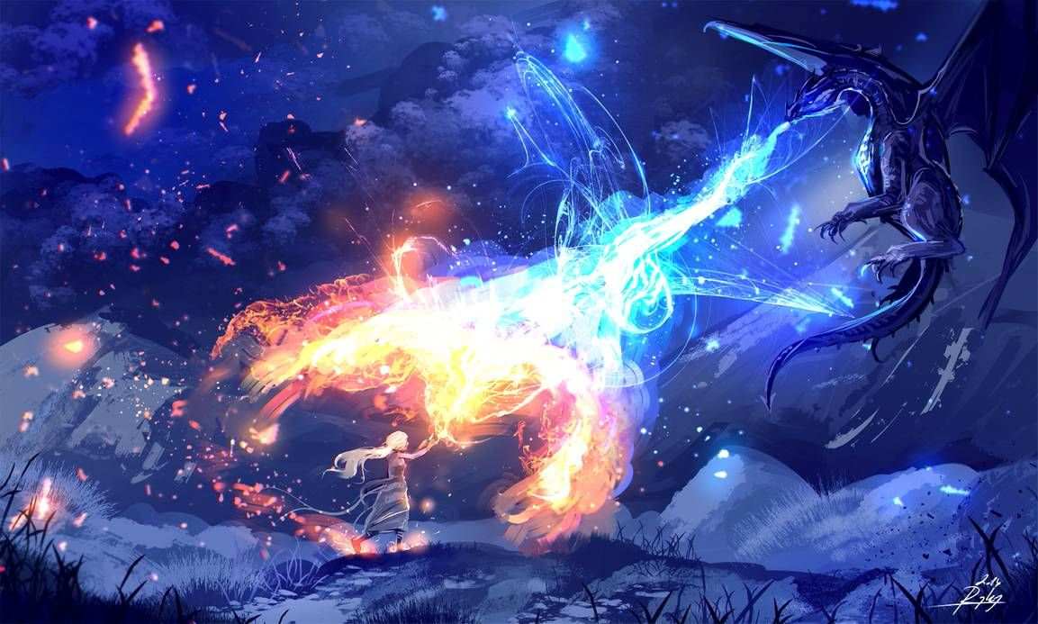 Fire And Ice By Ryky On Deviantart Fire And Ice Dragon Art Art