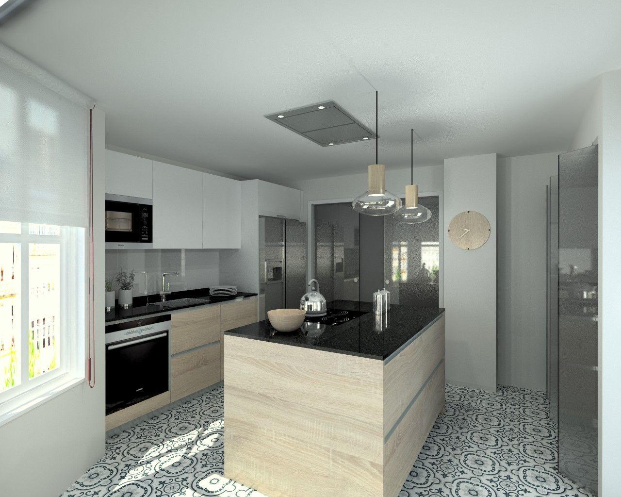 Cocinas santos modelo line estratificado roble barrica encimera granito negro cocina house - Encimera cocina granito ...