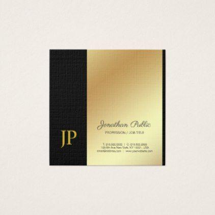 Elegant monogram black gold plain luxury linen square business card elegant monogram black gold plain luxury linen square business card stylist business card business cards reheart Image collections