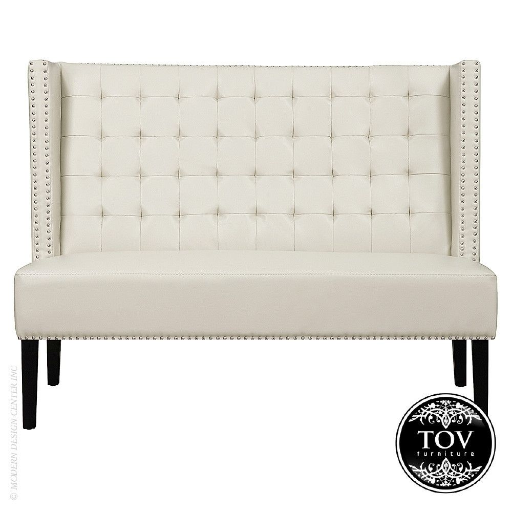 Tov Furniture Halifax Cream Leather Banquette Bench