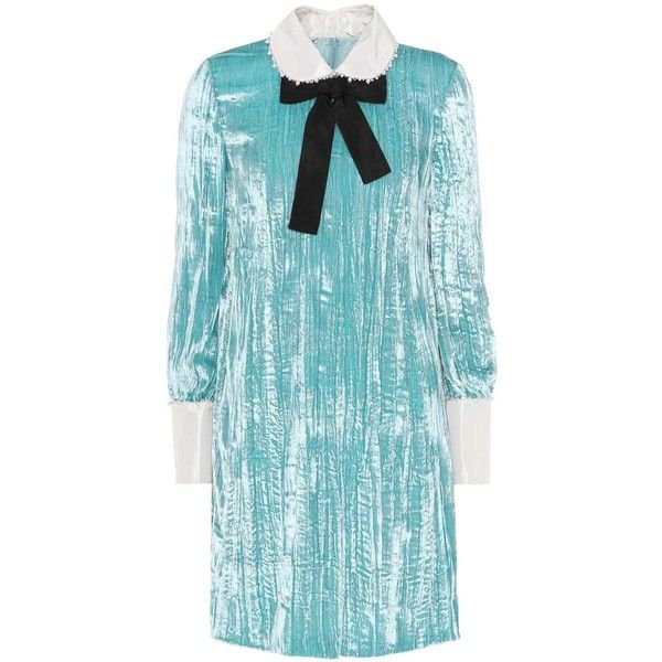 Miu Miu Embellished Crushed-Velvet Dress (€2.175) ❤ liked on Polyvore featuring dresses, blue, miu miu, blue dress, embelished dress, crushed velvet dress and miu miu dress