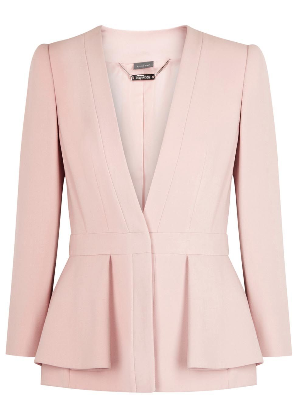 Alexander McQueen soft pink crepe jacket Padded shoulders, overlay peplumat sides, fully lined Concealed button fastenings through front 57% viscose, 39% wool, 4% elastane; trim: 100% silk; lining: 100% cupro