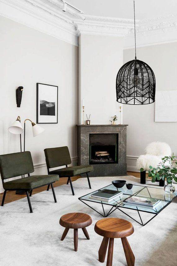Pendant Shade Rattan Shade Coastal Lighting Black Lamp Etsy Scandinavian Interior Design Furniture Design Interior Design