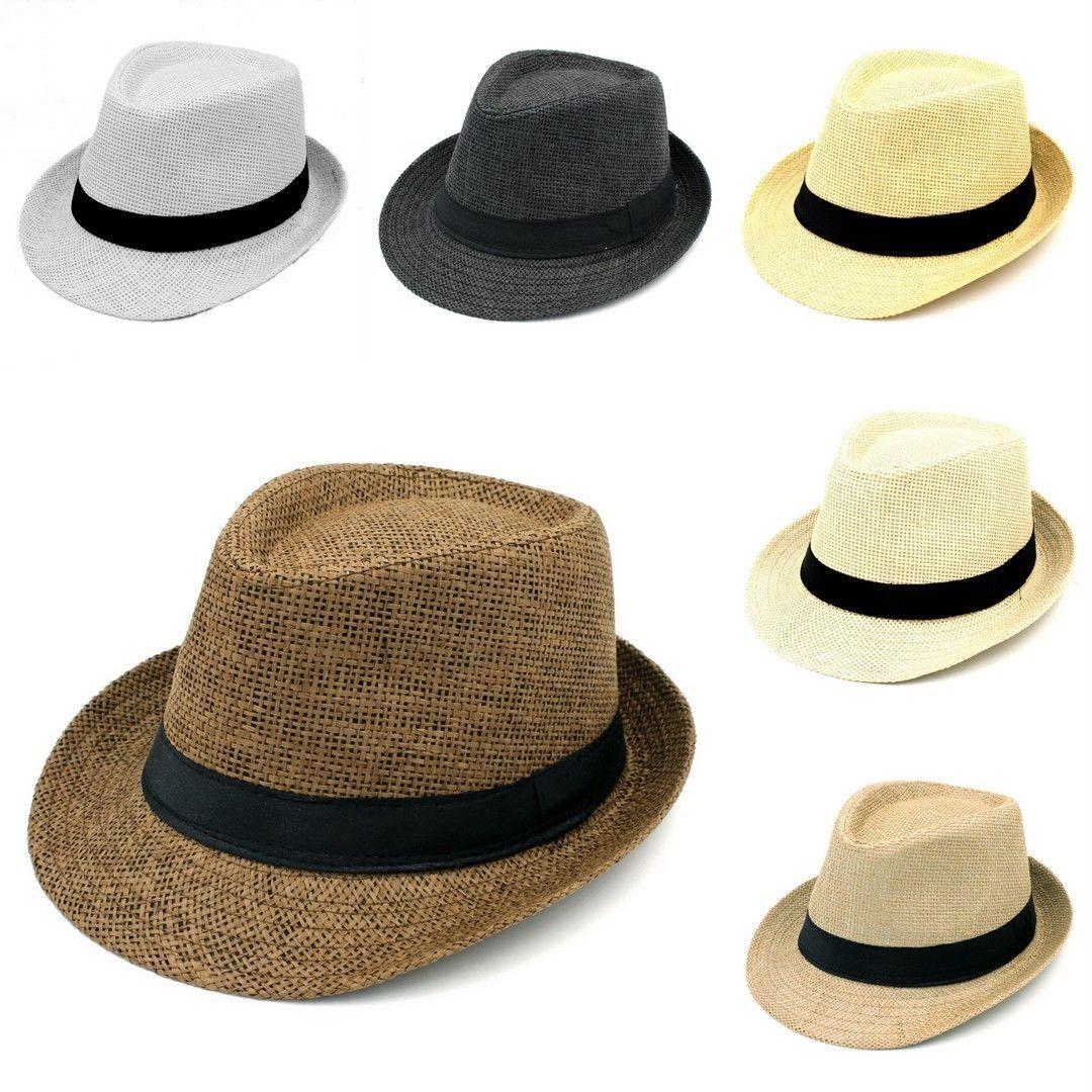 929799c9dbc19 5.69AUD - Men Women Summer Straw Hat Fedora Trilby Hats Beach Caps Black  Band Hip-Hop Jazz  ebay  Fashion
