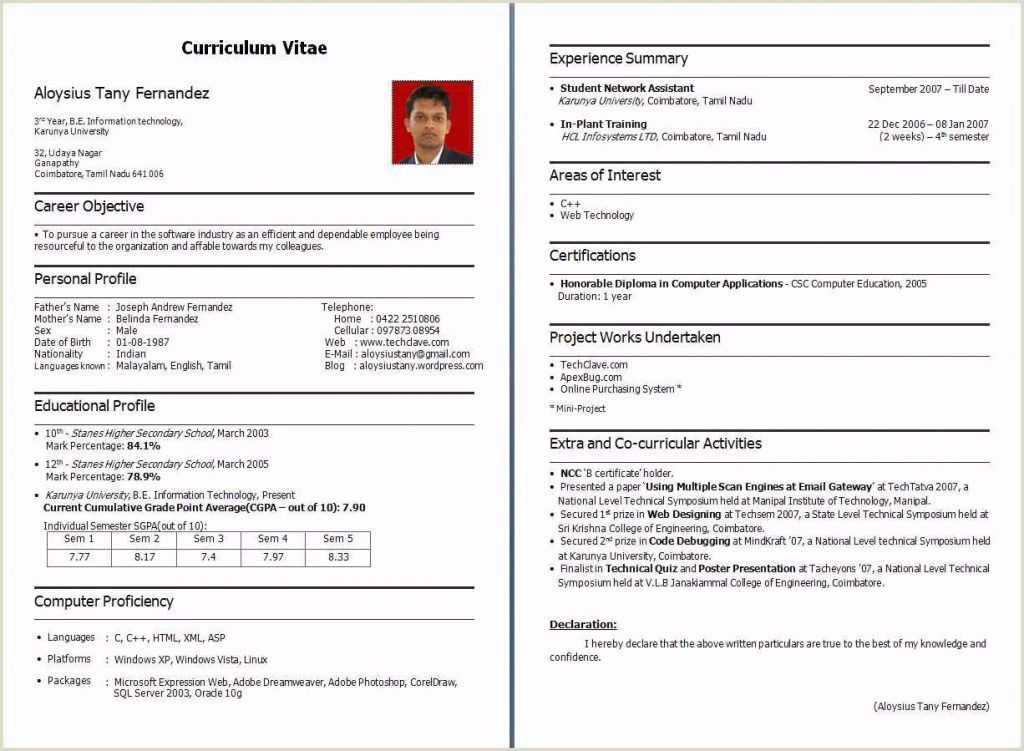 Fresher Resume format Download In Ms Word Pdf Resume