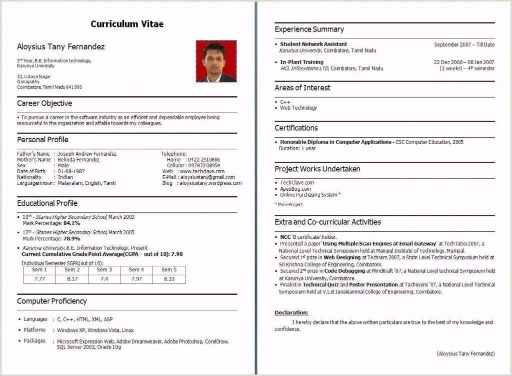 Job Resume Pdf Format Download