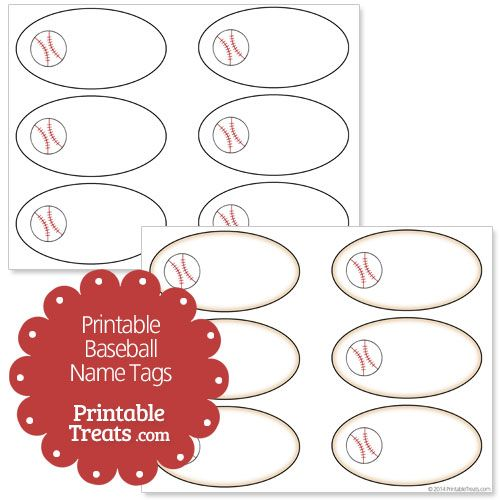 Free Printable Baseball Name Tags From PrintabletreatsCom
