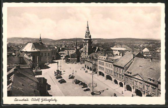 old postcard: AK Komotau / Chomutov, Adolf Hitler-Platz aus der Vogelschau