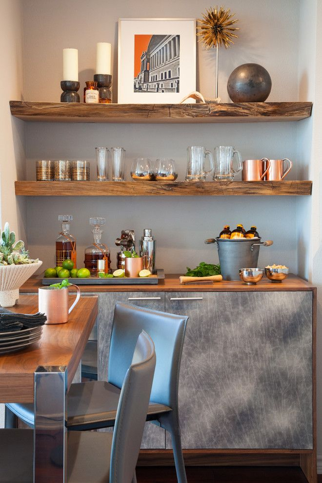Rustic built in shelves home bar contemporary with drinks cabinet drinks cabinet modern bar
