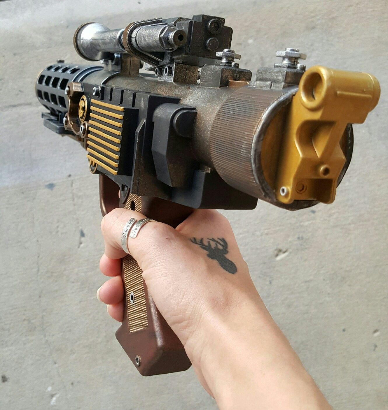 just completed this awesome Steampunk laser rifle! on sale