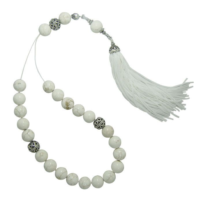 Antique Worry Beads Komboloi Beautiful Beuatiful White Howlite Turquoise Beads with White Tassel and Silver decoration Beads. |Pinned from PinTo for iPad|