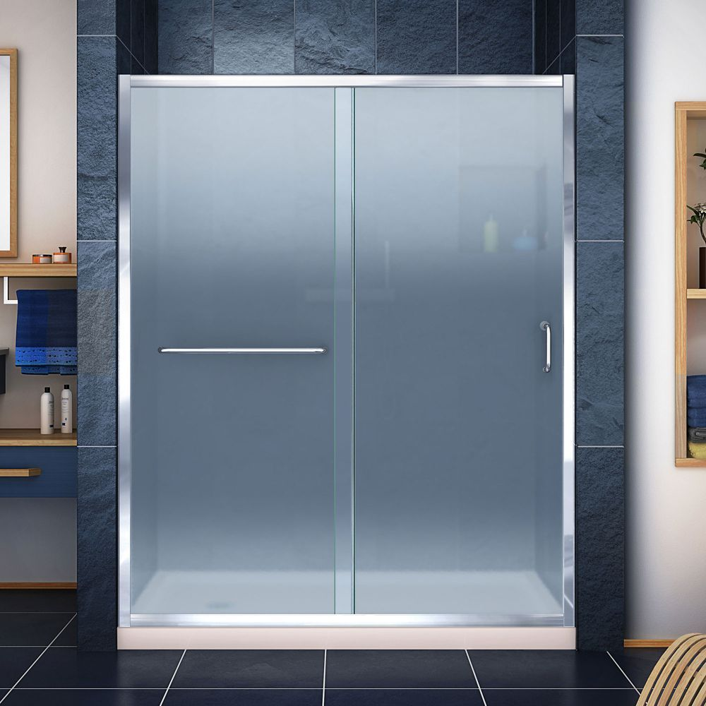 Infinity Z 36 Inch D X 60 Inch W Frosted Shower Door In Chrome And Left Drain Biscuit Base Shower Doors Frameless Sliding Shower Doors Sliding Shower Door