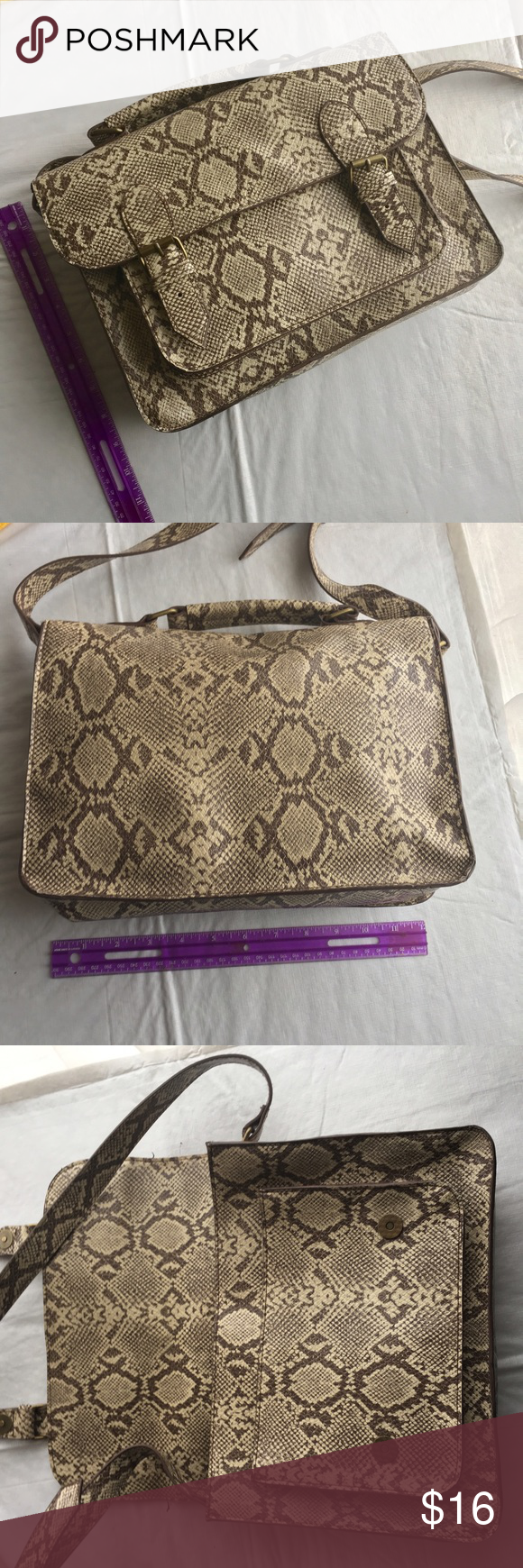 BDG Snakeskin satchel Magnetic closure with zip pocket and cell phone pocket inside. Super good condition, very little to no signs of wear. Urban Outfitters Bags Satchels