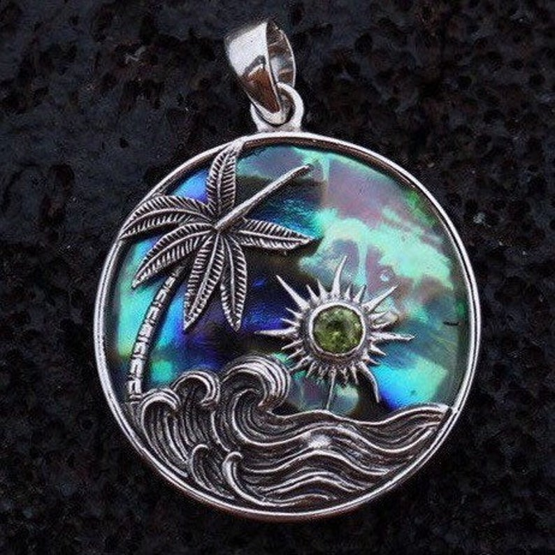 Ocean Beach Palm Tree Wave Sunset Necklace Pendant