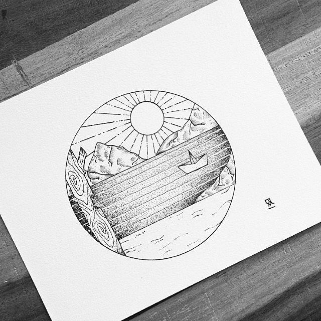 Drawing Circle Black And White Illustration Landscape Sketch Design Art Photo By Eva Svartur Follow Extreme Circle Drawing Circle Art Circular Art