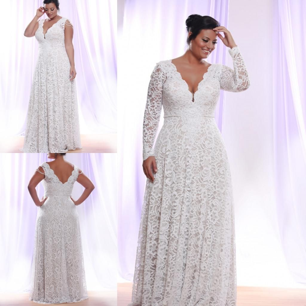 Cheap Plus Size White Lace Evening Dress 2016 Long Sleeves Deep V ...