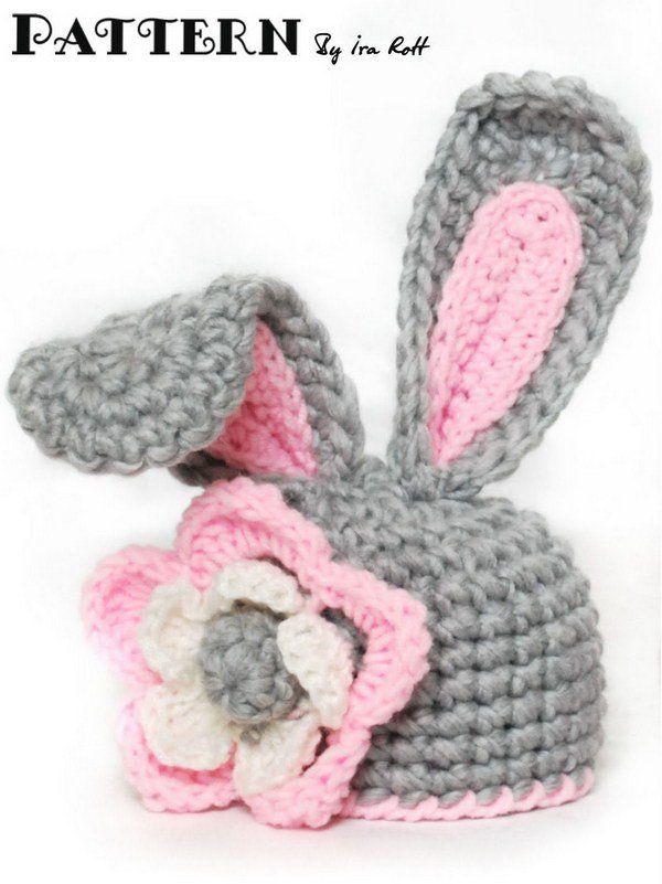 Crochet sombrero del conejito con la flor por la niña con el patrón ...